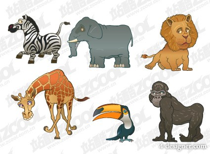 Funny animals vector material