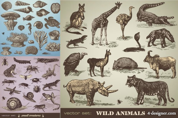 Hand painted animal vector material