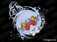 Heart shaped butterfly vector material
