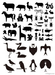 Various silhouette element vector material   animal silhouette 49 elements