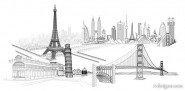 4 models wonderful line drawing of famous buildings vector