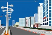 City scenery vector material