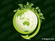 Green leaves with Earth Vector
