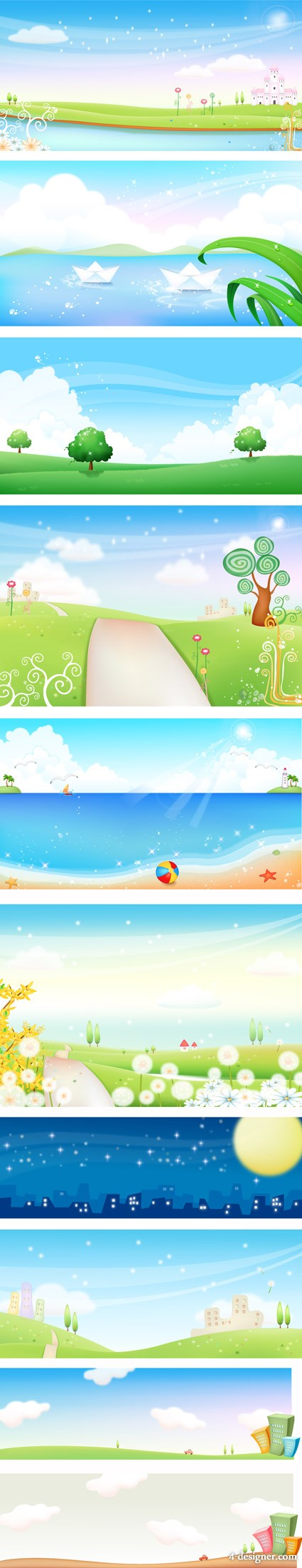 Korea vector landscape material   spring and summer scenery