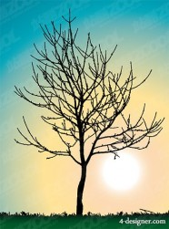 Leafless trees vector material