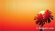 Sunset coconut shadow vector material