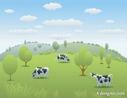 The cow pastures vector material