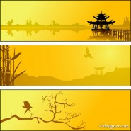 The summer lakeside silhouette scenery vector material