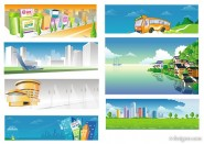 Urban village bus scenery vector material