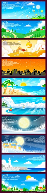 10 models of hand drawn style vector landscape material