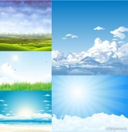 5 paragraph the sky theme scenery of vector material