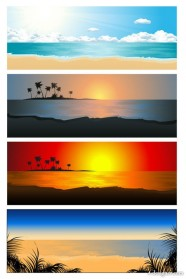 Beautiful coastal landscape 02   Vector