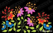 Cute butterfly shaped flowers vector material