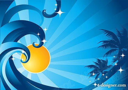 The sun waves coconut tree vector material