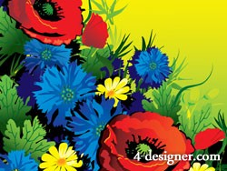 Colorful flowers vector clip