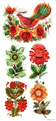 Hand painted style floral decoration vector material