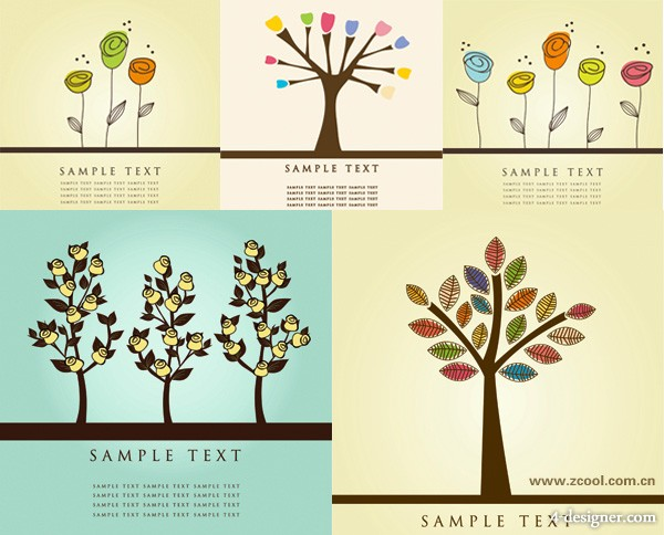 Lovely flower tree tree vector material