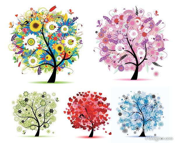 Seasons large trees vector material