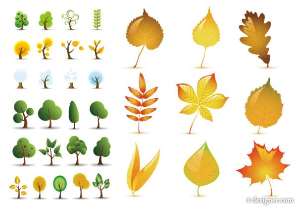 Trees leaves vector material
