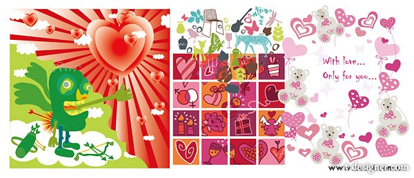 4 paragraph cute Valentine element vector material