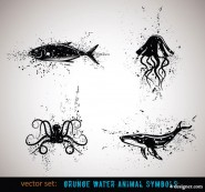 Ink animal vector material  4