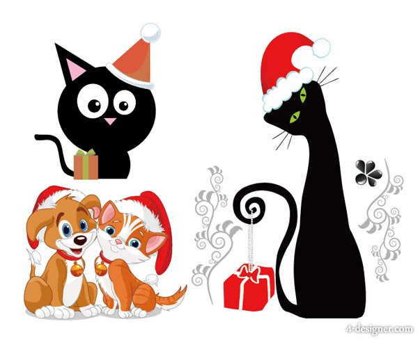 Lovely Christmas cats and dogs Vector