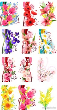 Several flowers vector material