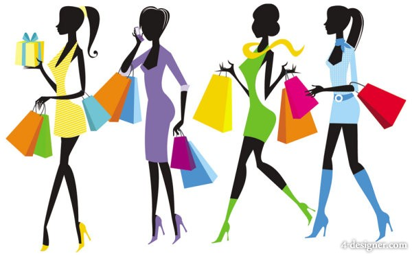 Shopping girls vector material 03   vector material