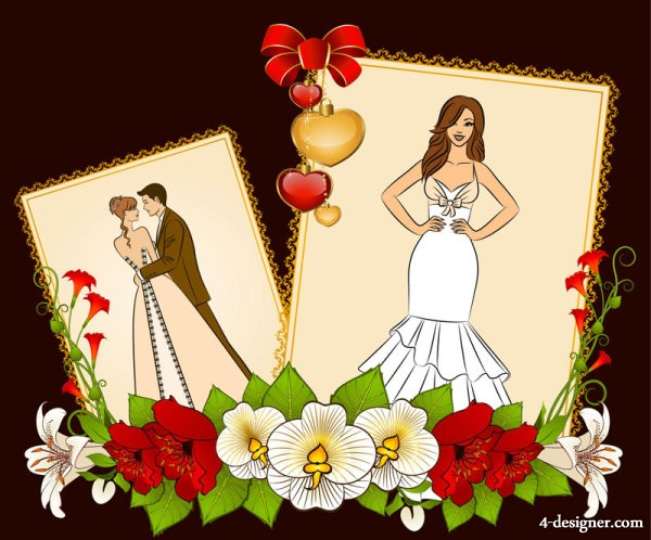 Wedding postcards 05   vector material