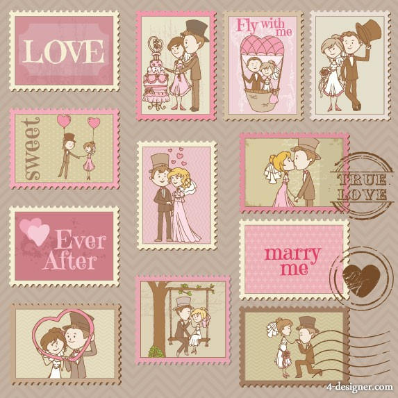 Cartoon wedding card 01   vector material