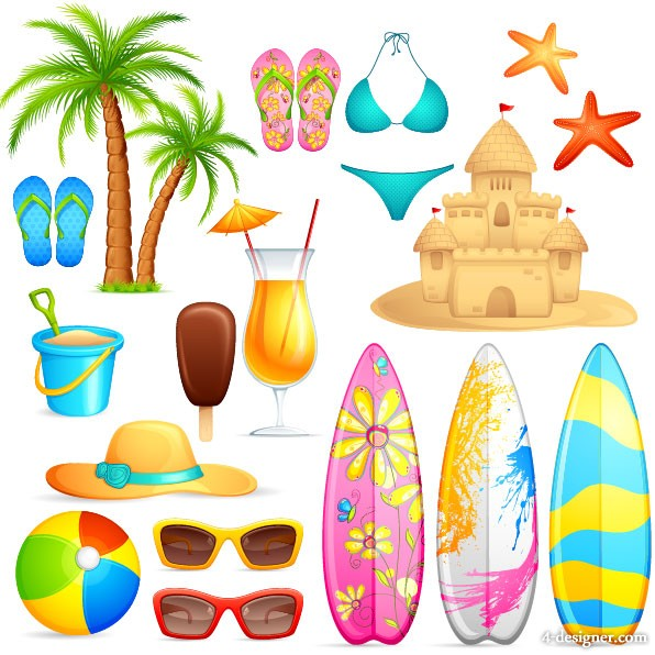 Lovely seaside stickers 04   vector material