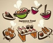 Of Cartoon hand painted food 01   vector material