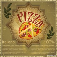 Retro pizza background Vector   Vector