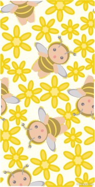 Cute the bee flowers consecutive background Vector  3
