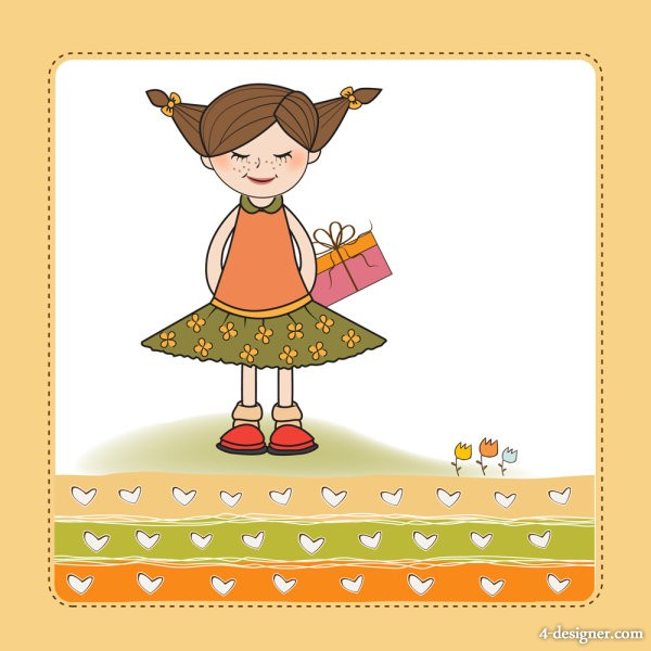 Little girl cartoon 01   Vector