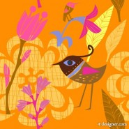 Lovely hand painted flowers bird vector material  3