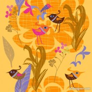Lovely hand painted flowers bird vector material  5