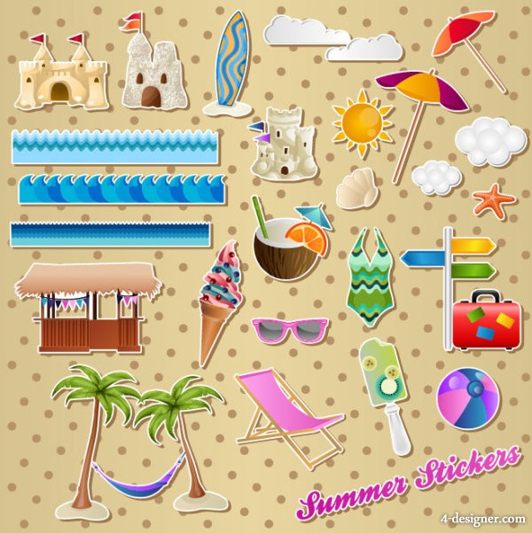 Lovely waterfront stickers 01   vector material