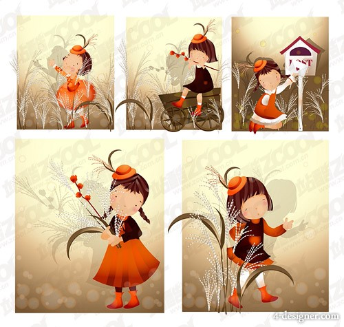 Reed topics Korea iClickart Four Seasons cute girl album