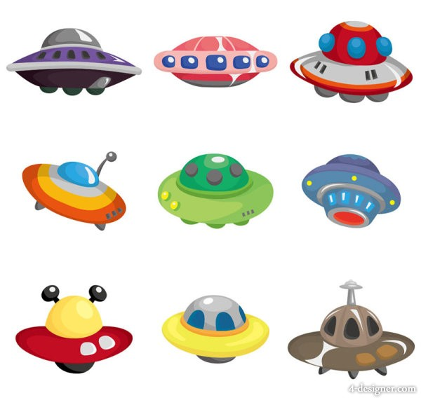 The cartoons UFO 01   vector material