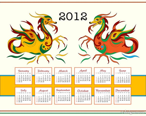 Year of the Dragon the calendars   Vector