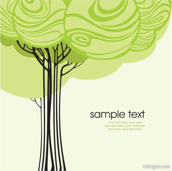 Cartoon line art tree 02   Vector