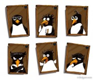 Cute penguin photo frame vector material