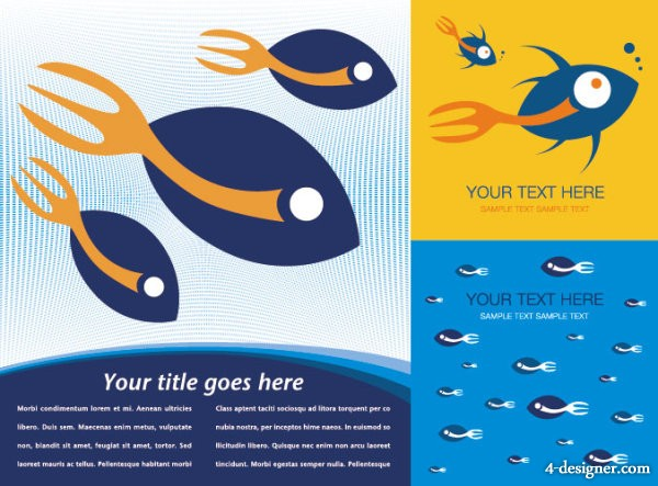 Fish theme background vector material