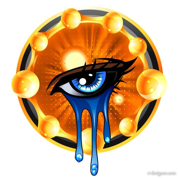 Tears decorative painting vector material   Vector