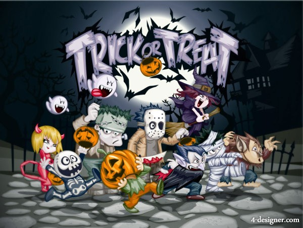 The Halloween cartoon image vector material   Vector