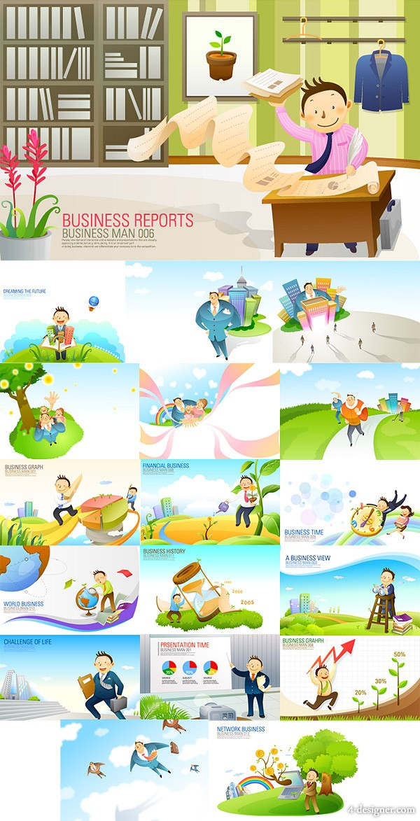 18 models cartoon business element vector material