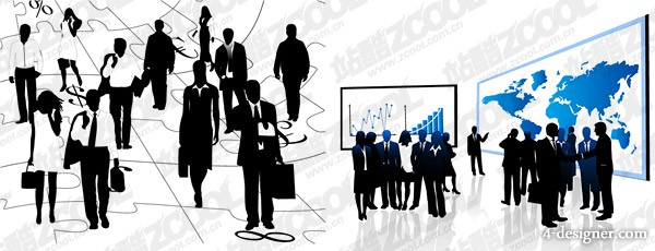 2, black and white business figures vector material