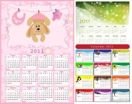 2011 lovely calendar template vector material