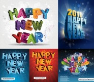 3D Happy New Year Vector
